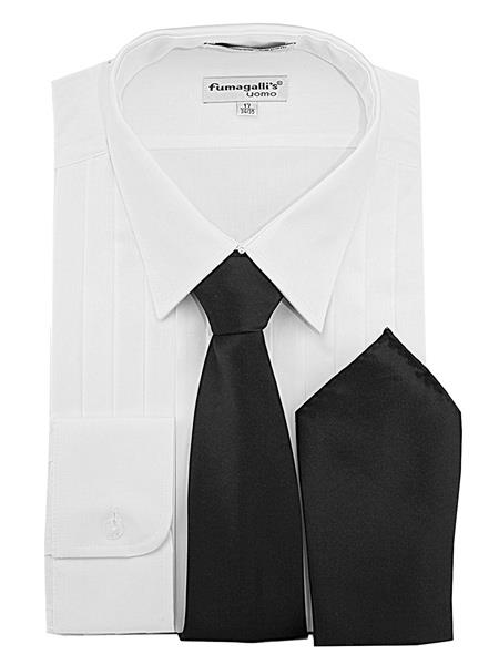 Product# JSM-3604 Men's White 100% Cotton Lay Down Collar 3/4