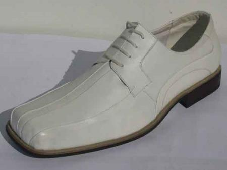 Men's White Leather Pleated