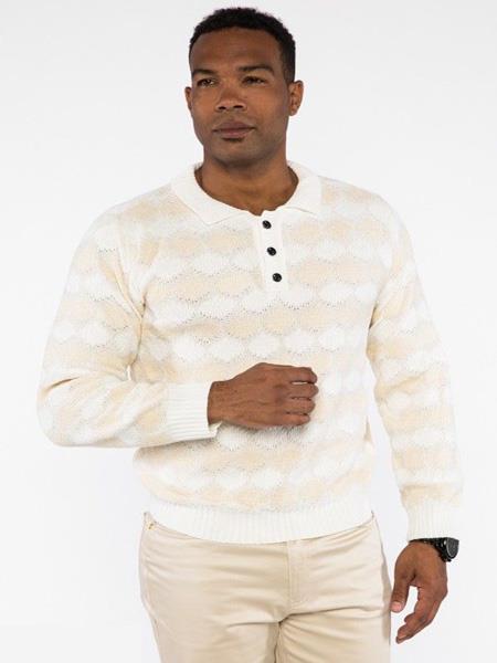 Mens Jacquard Polo Collar