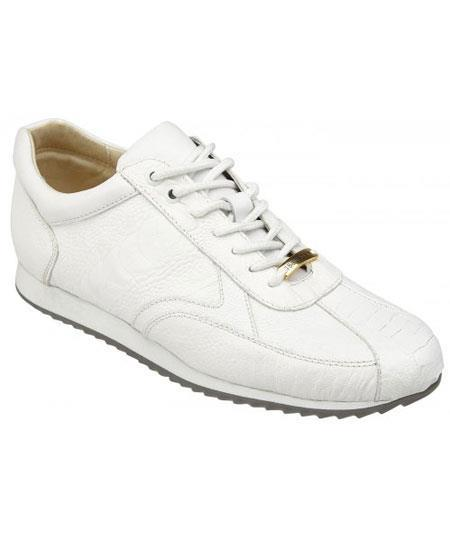 Mens White Genuine Ostrich