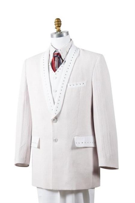 White 4 Piece Sharkskin
