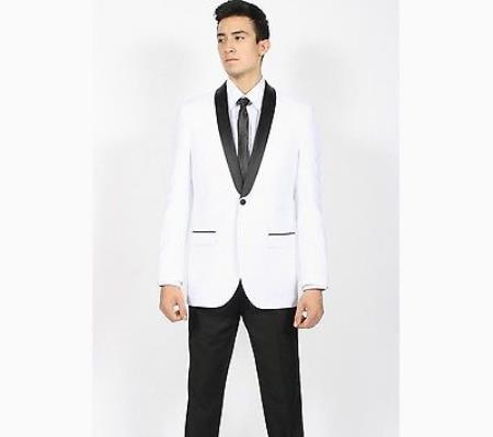 Product# KA5287 White Liquid Jet Black Shawl Collar Slim narrow Style Fit 2 Piece Tuxedo Clearance Sale Online