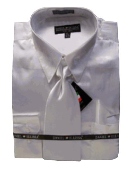 Product# PH545 New White Satin Dress Shirt Tie Combo Shirts