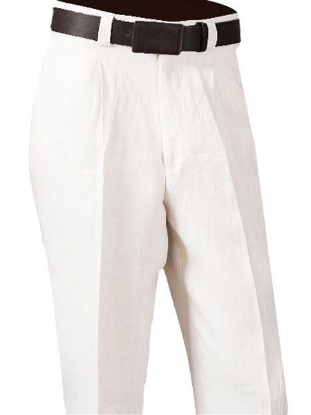 Product# SM876 White 100% Linen Single Pleated Slacks Pant