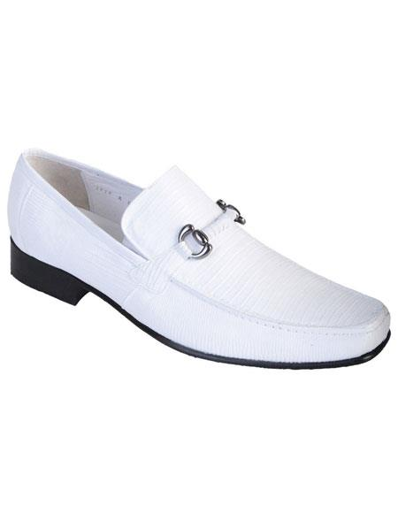 Mens White Genuine Teju