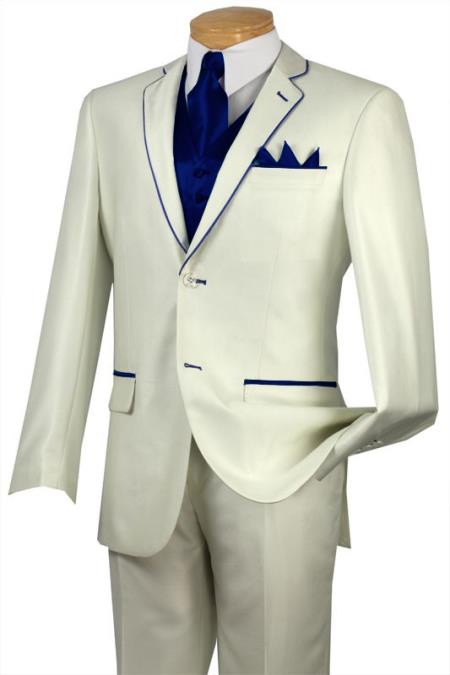 Product# JSV7 Tuxedo Navy ~ Midnight blue Trim Microfiber Two Button Notch 5-Piece Choice of Solid White or Ivory