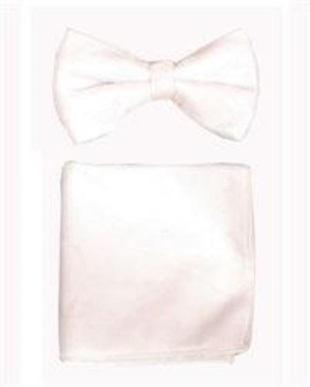 Product# AP21K Velvet Bowtie with Hanky White