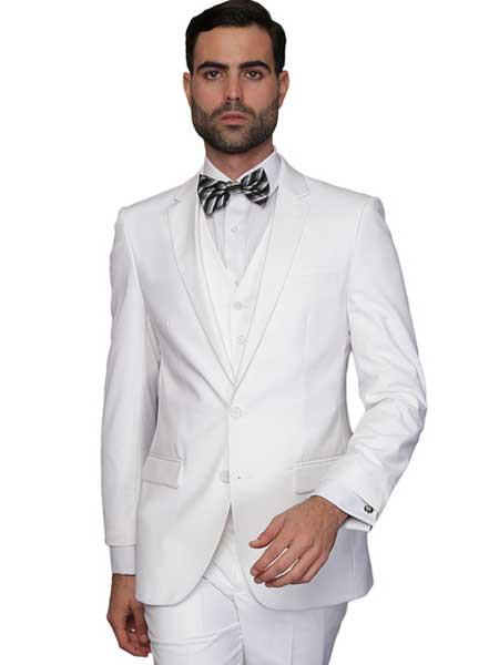 Product# SM908 White Italian Wool Fabric Single Breasted 3 Piece Slim narrow Style Fit Vested Suit ( Jacket and Pants)  For Men Clearance Sale Online