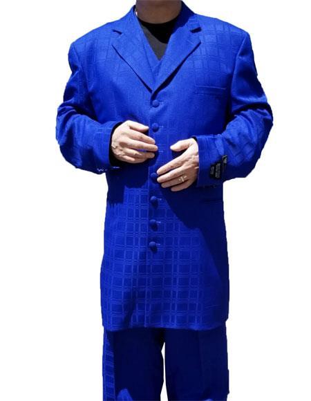 Product# GD1566 Men's Button Closure Windowpane ~ Plaid Pattern Notch Lapel Royal Blue Suit For Men Perfect  Zoot Suit For sale ~ Pachuco Mens Suit Perfect for Wedding