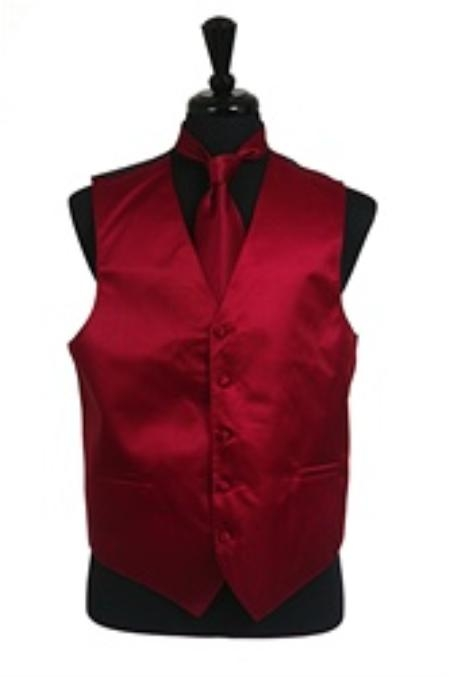 Product# VS2014 Horizontal Rib Pattern Vest Tie Set Burgundy ~ Maroon ~ Wine Color