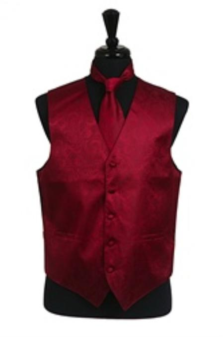Product# VS2782 Paisley tone on tone Vest Tie Set Burgundy ~ Maroon ~ Wine Color
