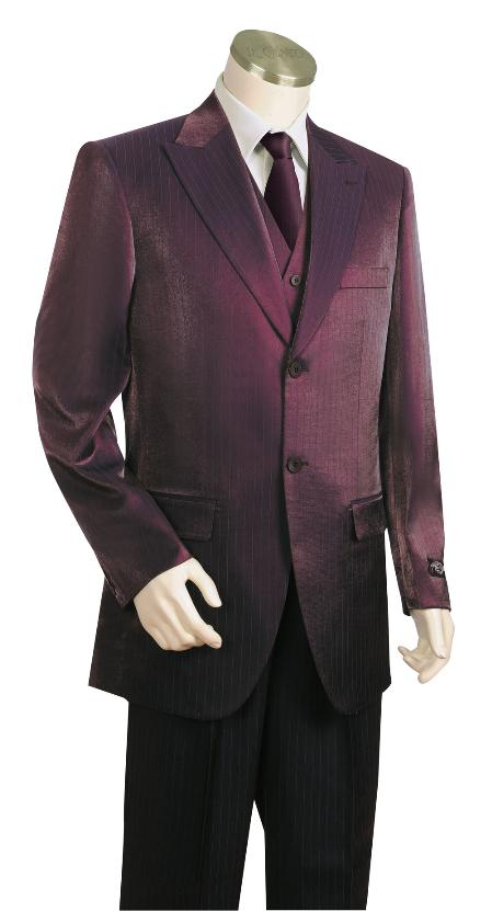 Product# RT6720 Fashionable 3 Piece Vested Wine Long length Zoot Suit For sale ~ Pachuco Mens Suit Perfect for Wedding