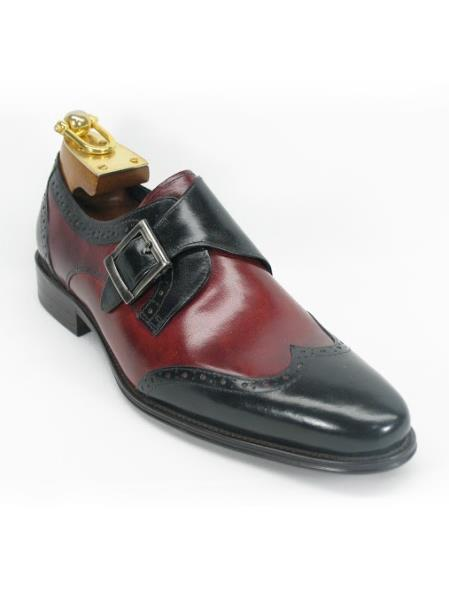 Mens Carrucci Black/Burgundy Monk