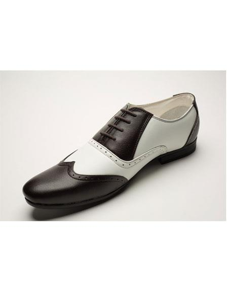 Men's Two Toned Lace Up Wingtip Style Brown ~ Off White Dress 1920s style fashion men's shoes