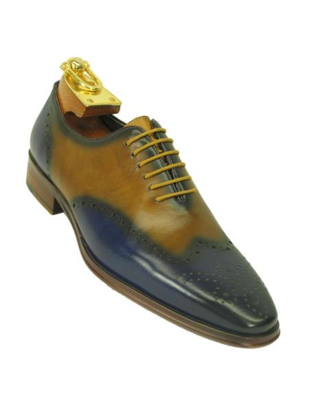 Product# SM5187 Carrucci Men's Two Toned Wingtip Toe Contrast Leather Oxford Blue/Tan Shoe