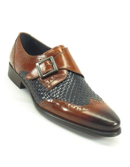 Product# SM5186 Carrucci Men's Wing Tip Toe Brown/Navy Woven Buckle Style Loafer Shoe