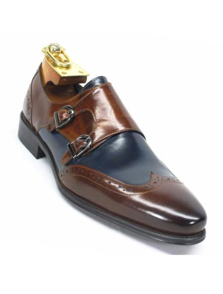 Product# SM5192 Carrucci Men's Brown/Navy Wingtip Toe Double Monk Straps Loafer