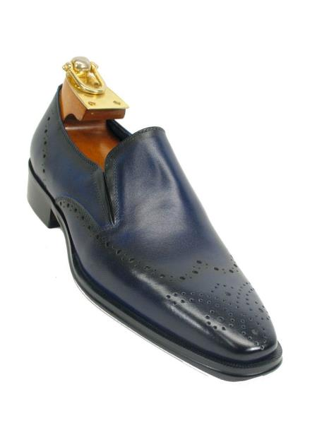 Product# SM5199 Carrucci Men's Wingtip Toe Two Tone Slip On Style Leather Loafer Navy Shoe