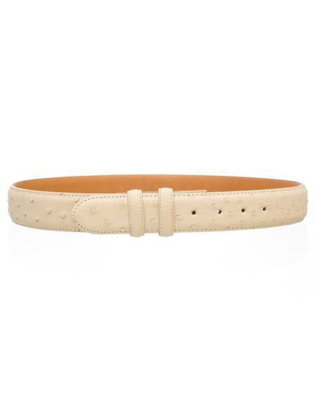 Product# JSM-4749 Men's Ostrich Quill Skin 1 1/2'' width Belt Winter White