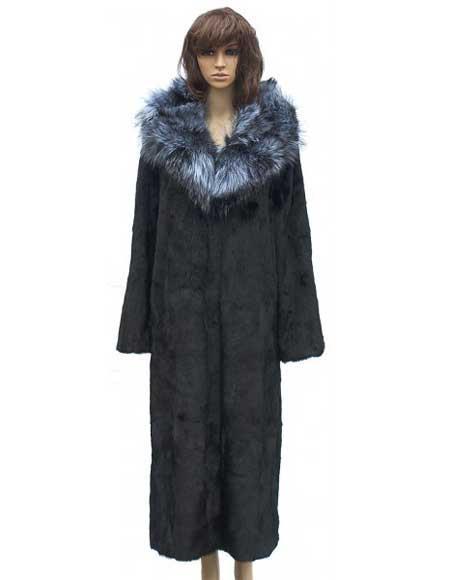 Product# GD776 Fur Black Full Skin Mink Full Length Coat With Silver Fox Collar Jacket