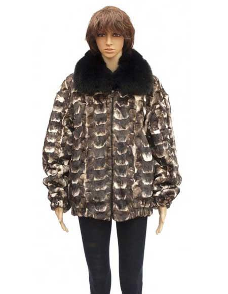 Product# GD794 Fur Brown Sheared Genuine Mink Jacket With Fox Collar