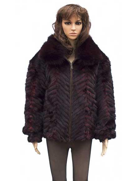 Fur Burgundy Chevron Mink
