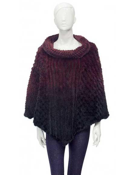 Fur Burgundy Genuine Knitted