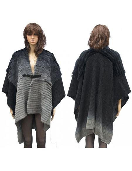 Fur Grey Genuine Cape