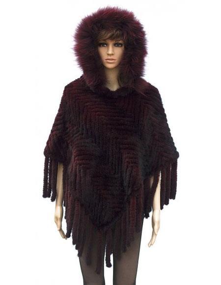 Fur Handmade Burgundy Knitted