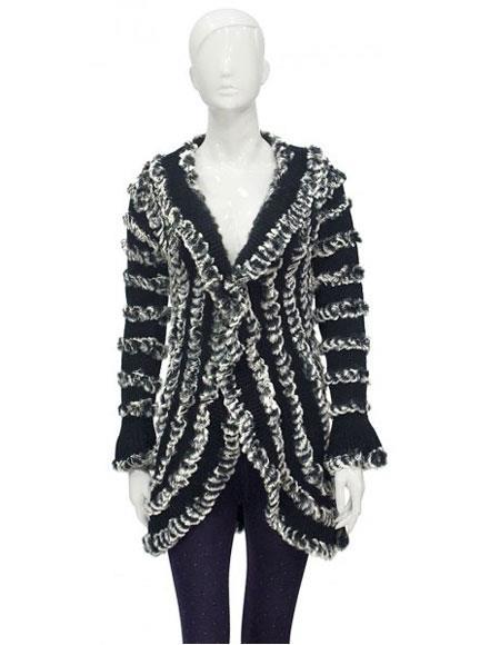 Fur Handmade Grey Knitted