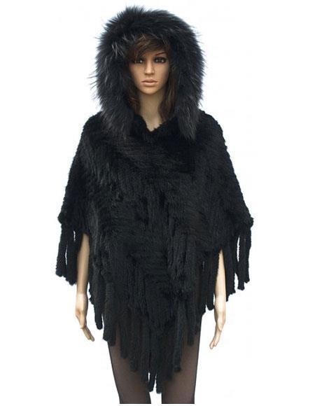 Fur Knitted Black Genuine