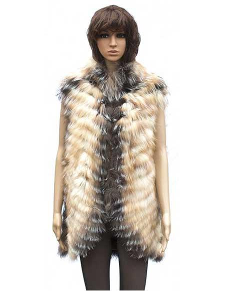 Product# GD803 Handmade Fur Chevron Vest in Crystal Fox Collar Jacket