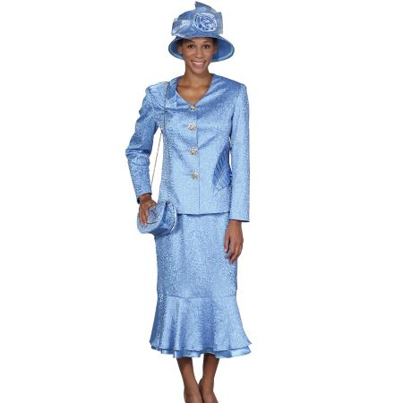 Product# WO-103 Wo 4 Button Style Dress Set Light Blue ~ Sky Blue