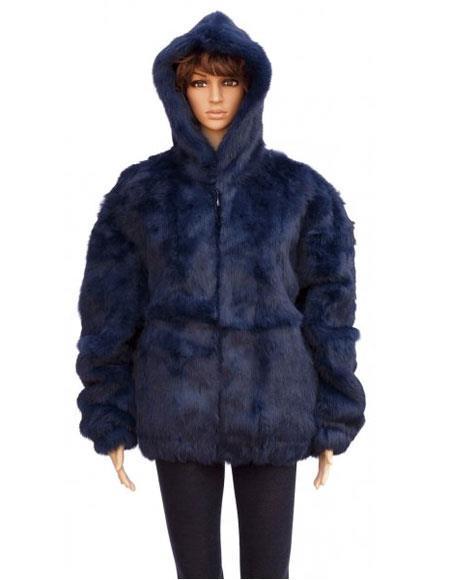 Product# GD843 Fur Navy Blue Full Skin Genuine Rabbit Jacket