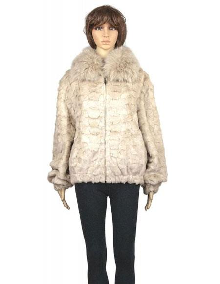 Product# GD847 Fur Pearl Genuine Mink With Full Skin Fox Collar Jacket