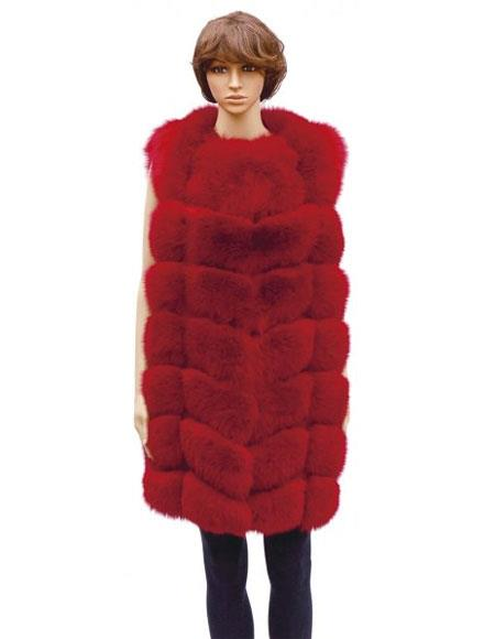 Product# GD851 Fur Red Full Skin Fox 3/4 Genuine Mink Vest