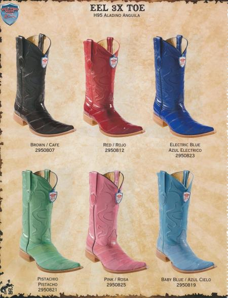 Product#N33C XXX-Toe Genuine Eel Diff. Colors/Sizes Cowboy Western Boots Brown/Red/Baby Blue/Pink