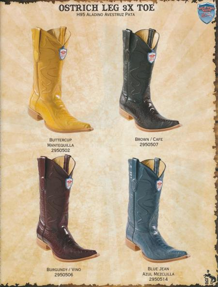 Product#P99S XXX-Toe Genuine Ostrich Leg Diff.Color/Size Cowboy Western Boots Brown/Burgundy/Buttercup/Blue Jean