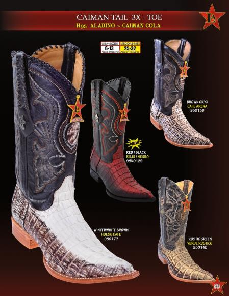 Product# Z5V3 Authentic Los altos 3X Toe Genuine cai ~ Alligator skin Tail Cowboy Western Boots Diff. Colors