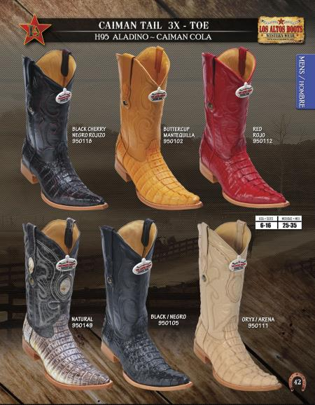 Product# DIK2 Authentic Los altos  3X Toe Genuine cai ~ Alligator skin Tail Western Cowboy Boots Diff.Colors/Sizes