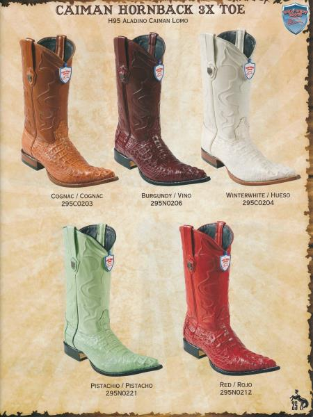 Product# Q99A 3X-Toe cai ~ Alligator skin Hornback Cowboy Western Boots Diff. Colors/Sizes