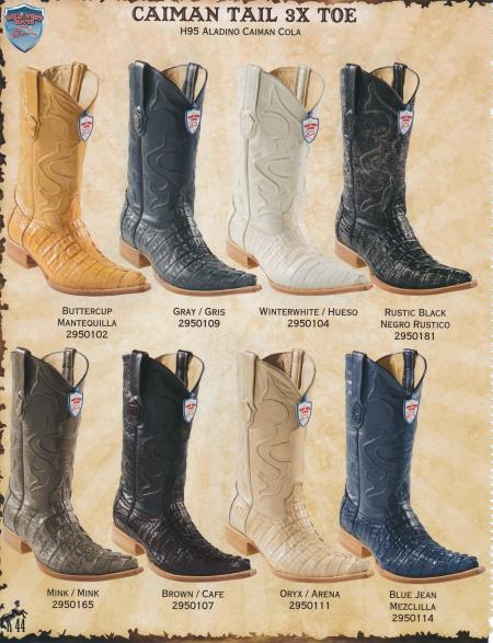 Product# PSK3 3X-Toe Genuine cai ~ Alligator skin Tail Cowboy Western Boots Diff.Color/Size
