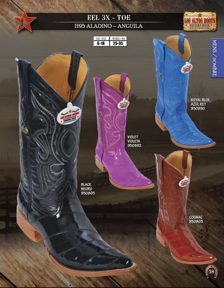 Product#C22AS Authentic Los altos XXX-Toe Genuine Eel Western Cowboy Boots Diff. Colors/Sizes
