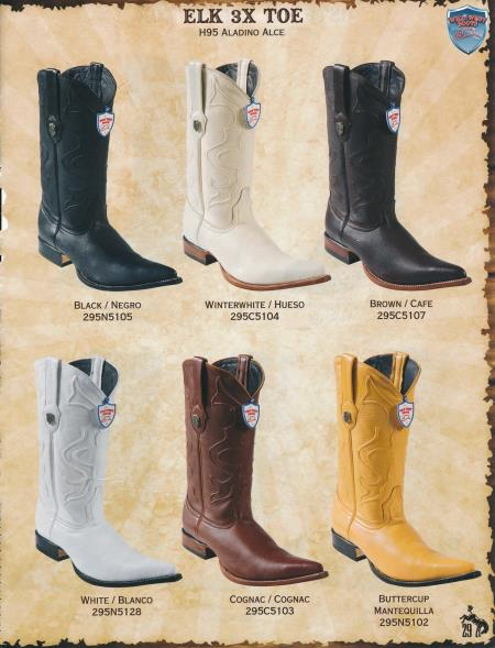 Product# 2QD1 3X-Toe Genuine Elk Cowboy Western Boots Diff. Colors/Sizes