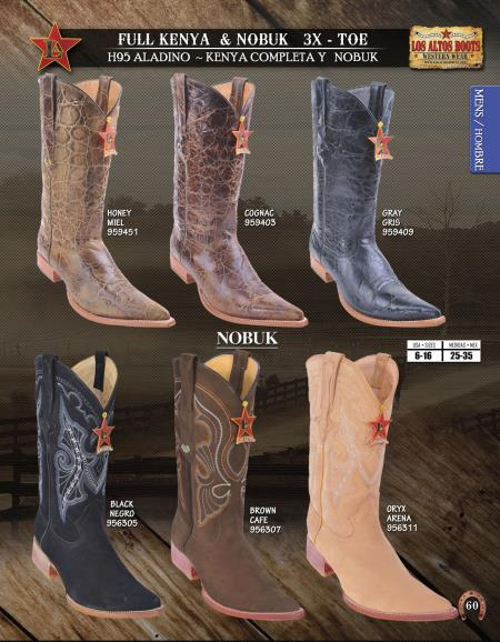 Product# AZ20 Authentic Los altos 3X-Toe Genuine Nobuk/Leather Western Cowboy Boot Diff.Color/Size