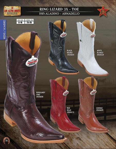 Product# 8UC2 Authentic Los altos 3X-Toe Genuine Ring Lizard Western Cowboy Boot Diff.Colors/Sizes
