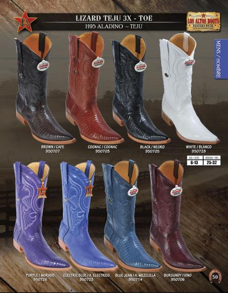 Product# 22QQ Authentic Los altos 3X-Toe Genuine Lizard Teju Western Cowboy Boot Diff.Colors/Sizes