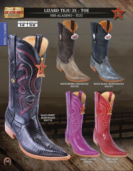 Product# L992 Authentic Los altos 3X-Toe Genuine Lizard Teju Western Cowboy Boot Diff.Colors/Sizes