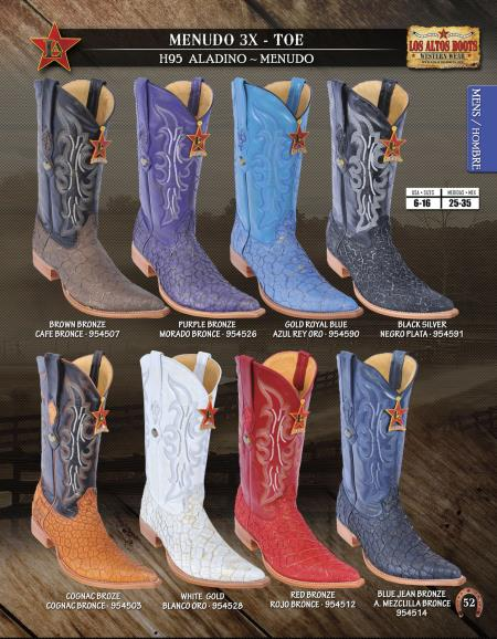 Product# 6GG6 Authentic Los altos 3X-Toe Genuine Menudo Western Cowboy Boots Diff. Colors/Sizes
