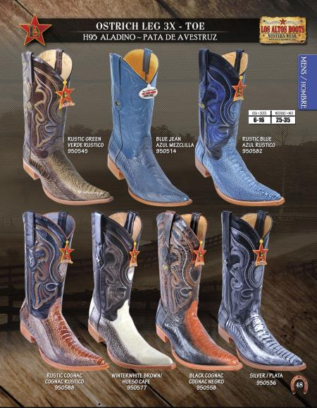 Product# Z346 Authentic Los altos 3X-Toe Genuine Ostrich Leg Western Cowboy Boot Diff.Colors/Sizes